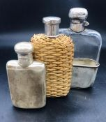 A Hallmarked silver flask along with two other.