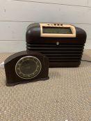 One mantel clock by Smiths and one Bakelite Bush Radio