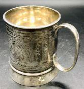 A small silver tankard, makers mark CB&S 1906.