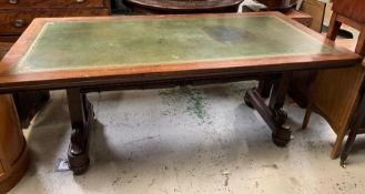 Regency mahogany Library table with green leather writing surface raised on supports (H75cm W184cm