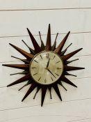 Mid century starburst wall clock