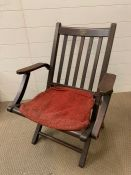 The Handy Folding Chair in Teak made from old navy ships by H Castle & Sons, Millbank with makers