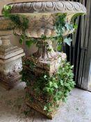 Large reclaimed garden urn on plinth (H120cm Dia82cm Base 38cm sq)
