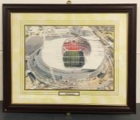 A Selection of three Football stadium framed photos to include Old Wembley, New Wembley and Stamford