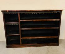 Victorian open front bookcase with three short shelves to side and three long (H101cm W146cm D37cm)