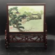 Chinese silk in box with stand