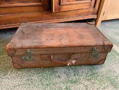 Vintage leather travel suitcase
