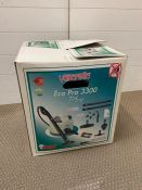A boxed vaporetto Eco Pro 3300 plus carpet cleaner/steam cleaner