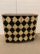 Victorian harlequin chest of drawers. H97cm W63cm L108cm