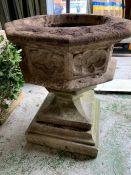 Gothic reclaimed garden planter on square base