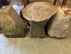 Three staddle stones bases and one top.