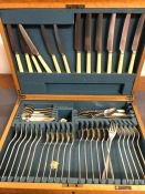 A Walker and Hall six piece canteen of cutlery.