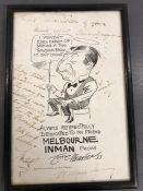 Billiards: Melbourne Inman signed cartoon.