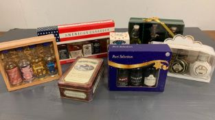 A Selection of Boxed alcohol miniatures to include American classics, Southern Comfort and Port.