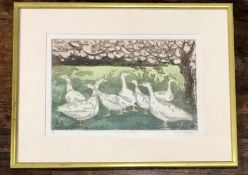 'Orchard Geese' etching by Judy Willoughby 9/100