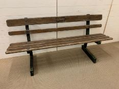 Charles Wicksteed & co Kettering, garden bench with hardwood slats and metal frame