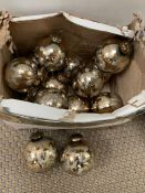 Fourteen glass antique style Christmas baubles