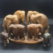 A selection of carved African elephants