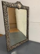 A Bevel Edged silver framed mirror in a rococo style, hallmarked Birmingham, makers mark HM