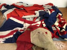A selection of vintage cloth flags and signal flags