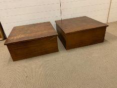 Pair of Teak display plinths. H30cm 70cmsq