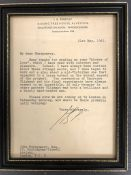 J B Priestley: A signed letter on his personal letter heading to the author John Montgomery