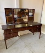 Stag dressing table with mirror and stool