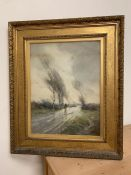 William Tatton Winter (1855-1928) watercolour of a country scene with a figure on horseback signed