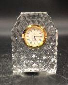 A boxed Royal Doulton crystal desk clock