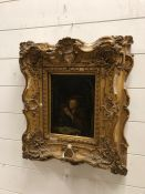 Oil on Board 17th Century Antiquarian in a plaster and gilded frame