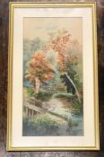 A watercolour of geese on a river dated 1914.