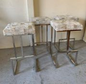 Four hide leather bar stools of contemporary design on chrome legs (H74cm D40cm W40cm)