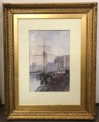 Beatrice A Fairless (1883-1943) A watercolour of a port scene with a Fort in the background.