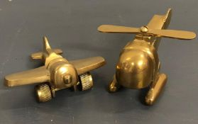 A Brass Helicopter and Plane