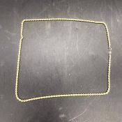 A 9 ct gold necklace in a rope style (3.7g)