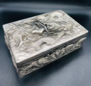 A Chinese Silver Cigarette or Cigar Box with Dragon Motif marked Zee Sung to base. (Total weight