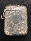 A Silver Vesta case, makers mark H & S, hallmarked Birmingham.