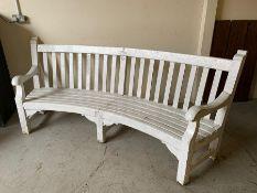White painted reclaimed curve wooden bench (H100cm W234cm D60cm)