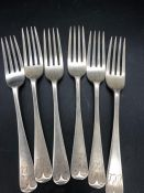 A Set of Six Hallmarked Silver Forks, makers mark CWF for Charles William Fletcher (275g)