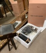 Pottery Barn display model of a vintage photographic camera and stand, boxed