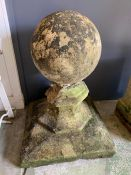 Reclaimed garden ball finial on plinth (H68cm Sq49cm)