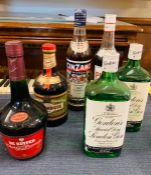 A mixed selection of liqueurs and gins