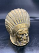 Brass native America head