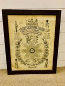 A framed first balt coldstream guards muster/honor roll