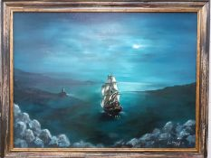 """Ian McKillop (act.XX-XXI) British, """"A moonlit coastal scene with a galleon and a lighthouse"""", signed"""