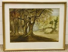 """20th century English school, """"Windsor Forest"""", unsigned and titled lower left, watercolour, framed"""