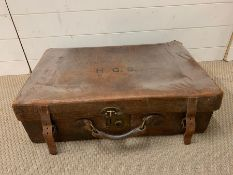 A Vintage Leather Suitcase, initialled HGS