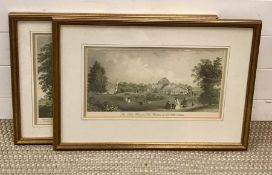 A pair of 19th century prints, depicting views of Kew Gardens, glazed and framed (29x46 cm