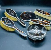 A Victorian Silver and Tortoiseshell Ladies Vanity, dressing table set.