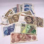 A Selection of twenty nine various worldwide banknotes